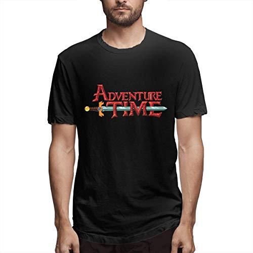 IUBBKI Camisetas de algodón de Manga Corta para Hombre Ocio Fitness Hora de Aventura Camisetas Negras con Cuello Redondo