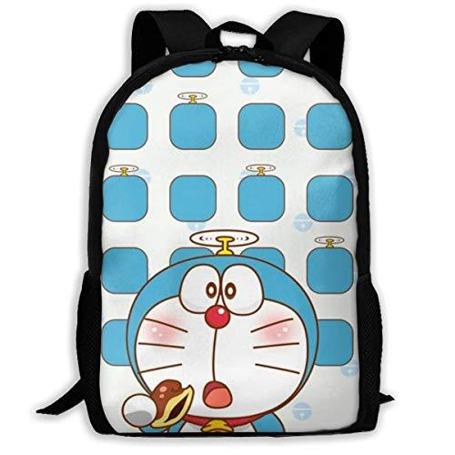 wobuzhidaoshamingzi Casual Rugzak Doraemon met Dorayaki Print Rits School Tas Reizen Daypack Rugzak