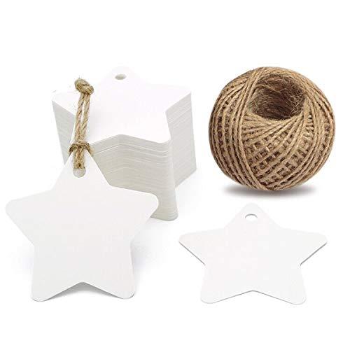 Weihnachten Etiketten Tags Geschenk Anhänger,100 Stück kraftpapier Hängeetiketten 6 CM * 6 CM mit 30 Meter Jute-Schnur für Weihnachtsgeschenke, Marmeladen etc. (Weiß)