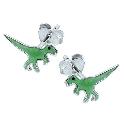 T Rex dinosauro in argento Sterling–verde
