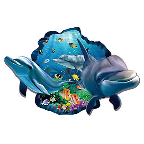 fashionbeautybuy - Adesivo da parete in stile 3D, motivo: delfini e pesci, in stile marino, rimovibile, per soggiorno, sala da pranzo, camera da letto, cucina, decorazione per bambini