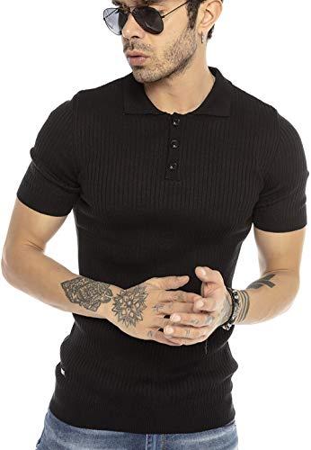 Camiseta Polo clásica Unicolor de Manga Corta y Acanalada para Hombre Negro