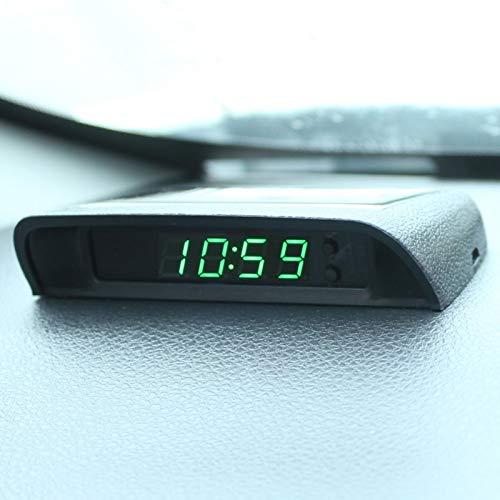 sympuk 4In1 Coche Fecha Reloj Termómetro Monitor de Voltaje 12V Original Y Energía Solar Car Interior Exterior Multifunción