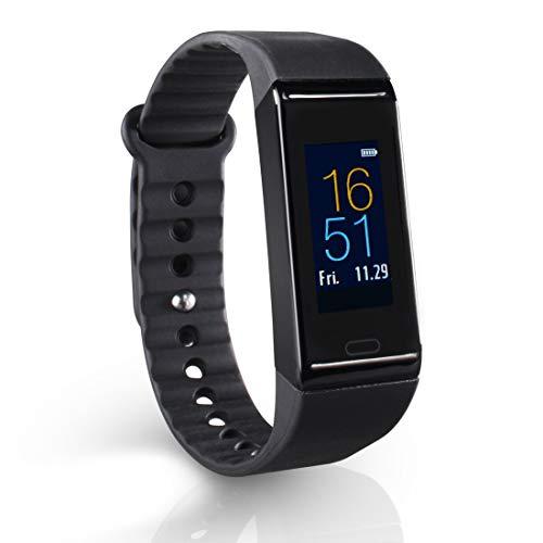 Hama Fitnessarmband met hartslagmeter, 6 sporten (fitnesshorloge met calorieënteller, stappenteller, slaapmonitor, fitnesstracker met app, trilwekker, bewegings- en drinkerherinnering) zwart