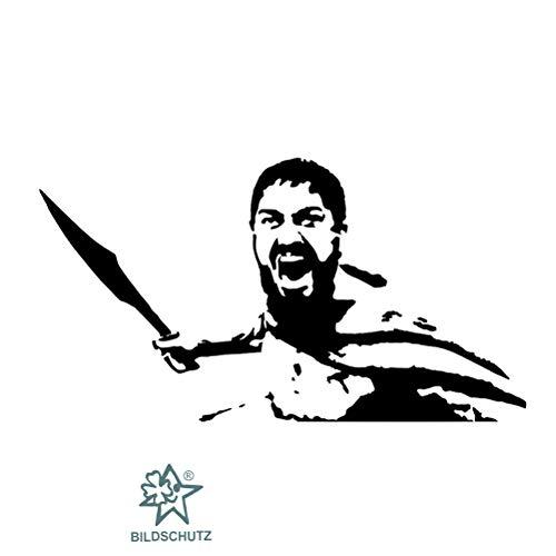 Supersticki 300 Spartana Spartaner, met zwaard 20 cm, van high-performance folie geplotte, vrijgezet zonder achtergrond voor alle gladde oppervlakken, autosticker, autolak, ruit, UV en Wasc
