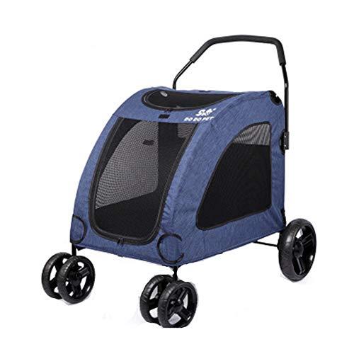 Grote kinderwagen voor huisdieren geschikt voor meerdere huisdieren 80 * 64 * 64 Modern design size Blauw