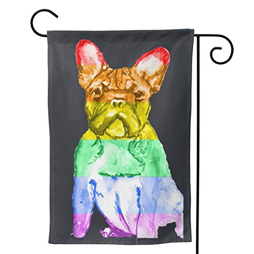 Only Pineapple French Bulldog Dog Gay Pride LGBT Flag Seasonal Family Welcome Double Sided Garden Flag Outdoor Funny Decorative Flags for Garden Yard Lawn Decor Party Gift Many Sizes