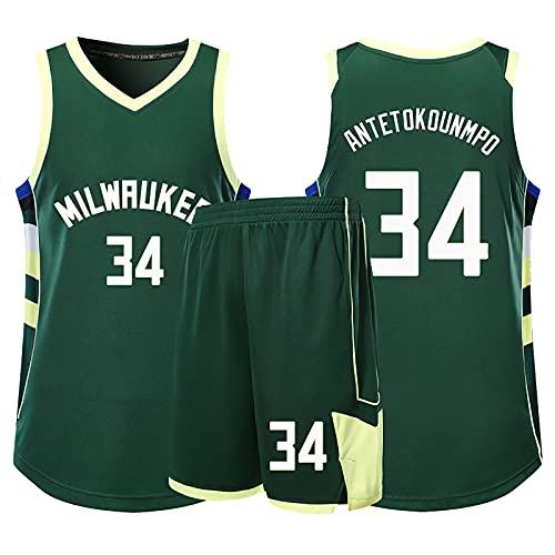 Camiseta de baloncesto de la leyenda de la NBA para hombre - Milwaukee Bucks#34 Giannis Antetokounmpo Uniforme de baloncesto Camisa bordada Chaleco Conjunto de pantalones cortos, Green-2XL(170~175cm)