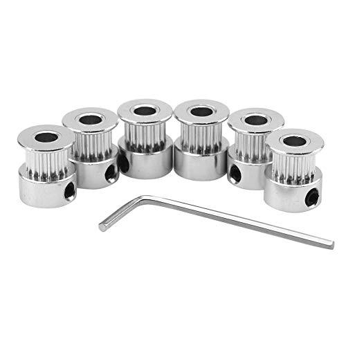 ICQUANZX Puleggia dentata 6 pezzi alluminio 8mm foro GT2 20 denti e chiave a brugola per stampante 3D Reprap cinghia distribuzione 6mm
