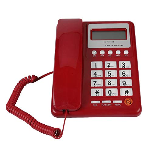 Diyeeni Retro Red Corded Telephone with Caller ID Display, Wired Telephone with DTMF/FSK Dual Mode Flash and Redial Function, Fixed Telephone for Hotel Family School Office