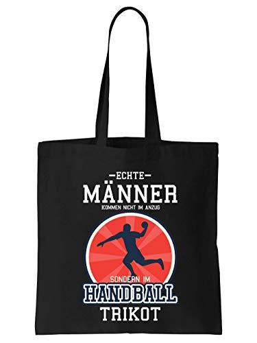 clothinx Einkaufstasche Echte Männer Kommen Nicht Im Anzug Sondern Im Handball Trikot Schwarz