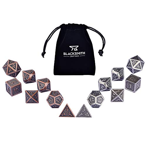 HEIMDALLR Metal DND Dice Set 14 PCS - Dungeons and Dragons Polyhedral Dice Set with D&D Dice Bag for RPG Gaming - Includes 2 D20s - Blacksmith Craft Dice (Bronze & Iron)
