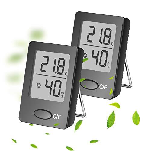 Hygrometer, QTTO Raumthermometer mit Hohen Genauigkeit, Hygrometer innen Temperatur Tragbares Luftfeuchtigkeitsmessgerät mit Hohen Genauigkeit, Thermometer innen Geeignet für Wohnzimmer, Büro(2er Set)