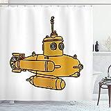 ABAKUHAUS U-Boot Duschvorhang, Kreative Bathyscaphe Kunst, Trendiger Druck Stoff mit 12 Ringen Farbfest Bakterie & Wasser Abweichent, 175x180 cm, Marigold Seeblaue