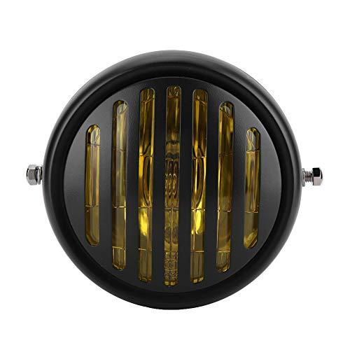 Gorgeri 12V Faro universal Moto Retro Negro Shell Parrilla Cubierta Faro Faro delantero (Amarillo Blanco)(Cristal negro de concha negra)