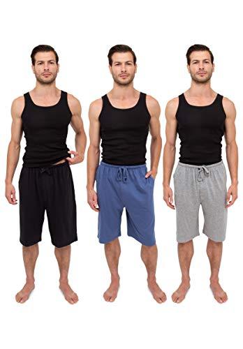 Andrew Scott Men's 3 Pack Soft & Light Cotton Drawstring Yoga Lounge & Sleep Jam Shorts/Jersey Shorts with Pockets (3 Pack -Black/Denim/Grey, XL 40-42)