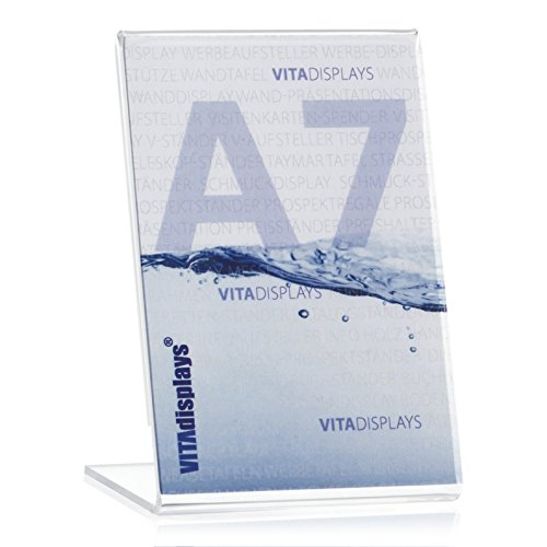VITAdisplays® DIN DIN A7 Werbeaufsteller / Preishalter / Fotoaufsteller (7,4×10,5cm), Transparent aus original PLEXIGLAS®