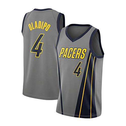 WGFI Herren Basketball Uniformen, Indiana Pacers # 4 Victor Oladipo Basketball City Edition Trikot Sportweste Top Ärmelloses T-Shirt Swingman Trikot Grey-M