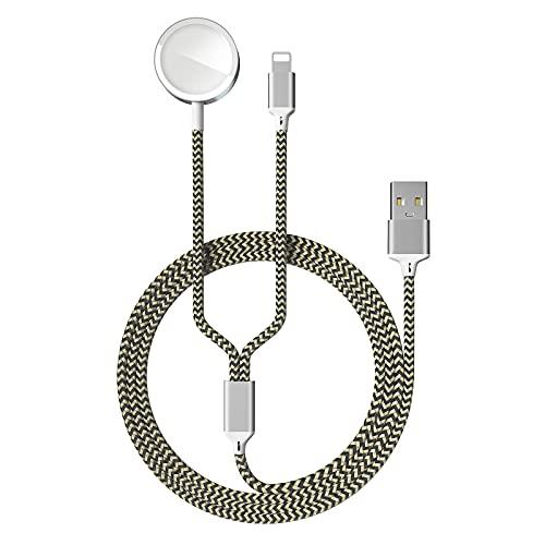 2 en 1 Cable de Carga Magnética para Apple Watch 6/SE/5/4/3/2/1, Cargador USB Charger Compatible con iPhone 11 MAX Pro/XR/XS/8/8 Plus/7 Plus/7/6Plus/6 y iWatch 38/40/42/44mm