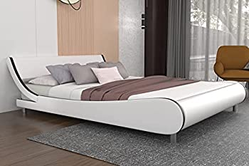 Modern Queen Platform Bed Frame with Adjustable Headboard Upholstered Faux Leather Bed Frames Queen Mattress Foundation with 12 Wood Slats Support  White & Black