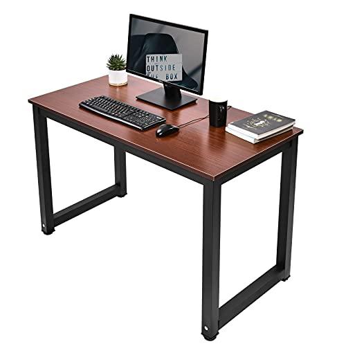 ZXIN Escritorio de Computadora, Mesa de Computadora Portátil Edición Mejorada, 47 Pulgadas, Madera y Metal, Mesa de Estudio para Oficina en Casa (Acabado de Roble Vintage) Black Desk