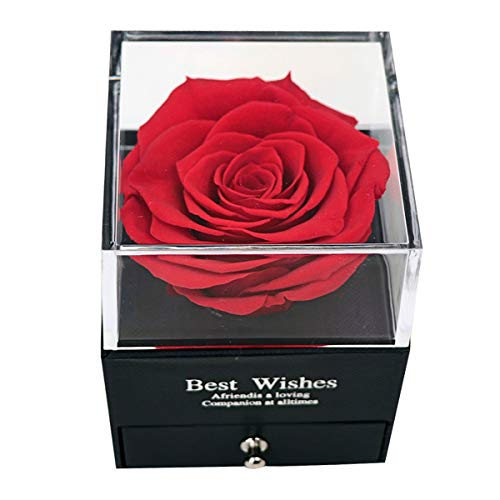 MINCHEDA Rosa Eterna, Regalo de Flor Preservada Caja de Regalo de Joyería para Ella/Esposa/Novia/Mamá en Cumpleaños/Aniversario/Día de San Valentín