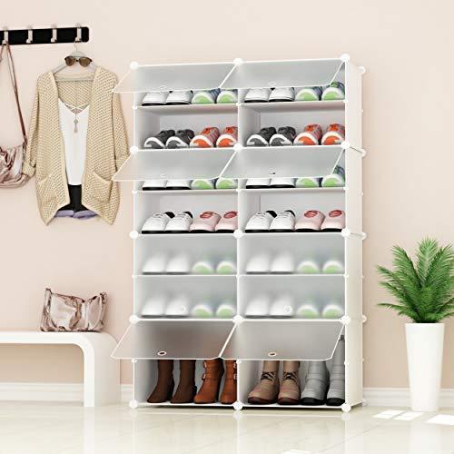 JOISCOPE PREMAG Portable Shoe Storage Organizer Tower, Weiß mit transparenten Türen, Modular Cabinet Regale für platzsparende, Schuhregal Regale für Schuhe, Stiefel, Hausschuhe 2 * 7