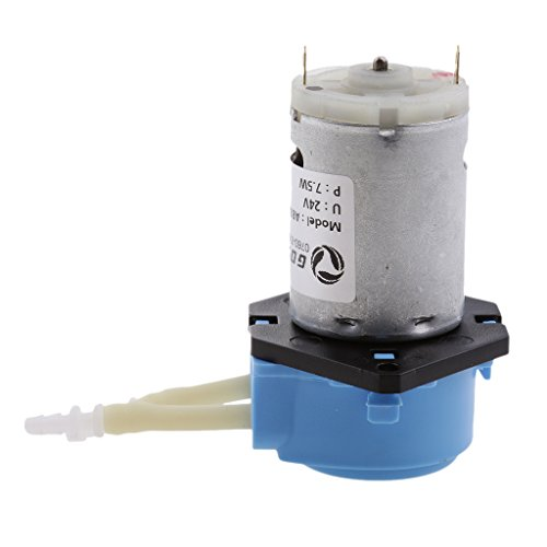 joyMerit DC 24V Laboratorio Bomba Dosificadora Cabezal Peristáltico Conector De Manguera Agua Líquido 0~100 Ml/Min para Productos Químicos, Experimentos, A - Azul