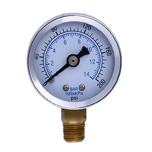 """1/8"""" NPT Manometer Kraftstoff-Luftverdichter Meter Hydraulikdrucktester 200 PSI Manometer Doppelskala Druckmesser"""