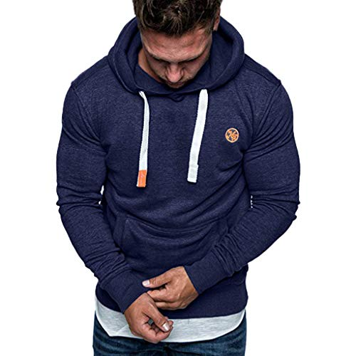 Xmiral Herren Hoodies Top Langarm Lässige Sweatshirt Bluse Trainingsanzüge Einfarbig Mit Große Tasche Kordelzug(L,Marine Blau)