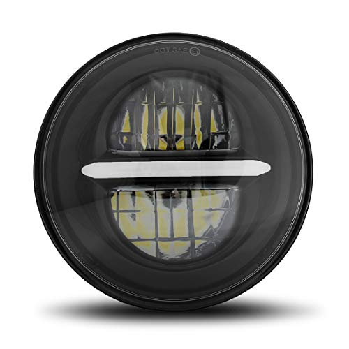 Wisamic 5-3/4 5.75 inch LED Headlight with DRL - Compatible with Harley Davidson Dyna Street Bob Super Wide Glide Low Rider Night Rod Train Softail Deuce Custom Sportster Iron 883 (Black)