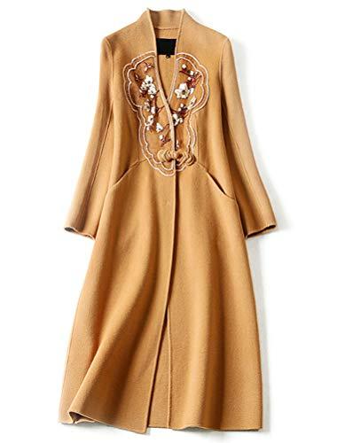 XZYP Mantel aus Organza, Bestickt mit Perlen, Lange Ärmel, lang, doppelseitig, Kaschmir XL Camel