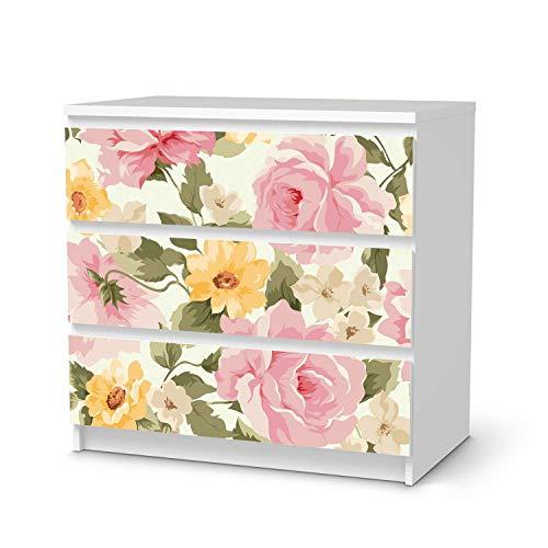 Wandtattoo Möbel passend für IKEA Malm Kommode 3 Schubladen I Möbelaufkleber - Möbel-Tattoo Sticker Aufkleber I Wohnen und Dekorieren für Wohnzimmer und Schlafzimmer - Design: Vintage Flowers