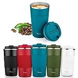 Tazza Termica, TEWLEN Tazza da Caffè in Acciaio Inox Tazza da Viaggio per Caffe 100% a Pr...