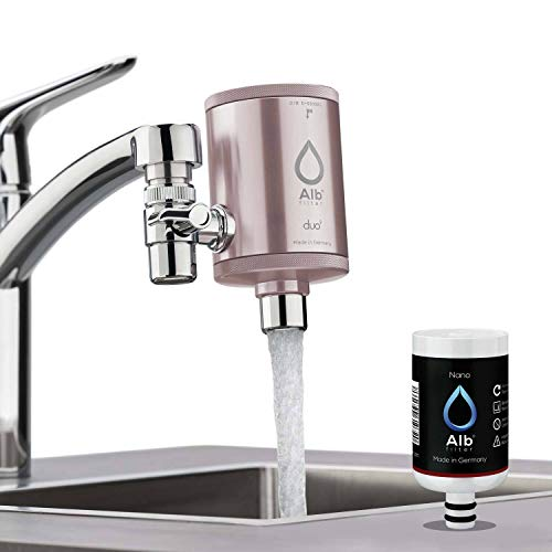 Alb Filter® Duo Nano Trinkwasserfilter | Armatur Anschluss | Gegen Mikrokeime wie E. coli, Legionellen uvm. | Set mit Gehäuse und Kartusche | Made in Germany Rosé