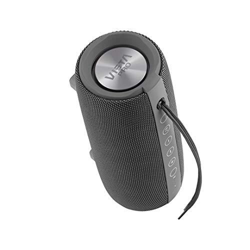 Altavoz Upper 2 de Vieta Pro, con Bluetooth 5.0, True Wireless, Micrófono, Radio FM, 10 Horas de batería, Resistencia al Agua IPX6, Entrada Auxiliar y botón Directo al Asistente Virtual; Gris Plomo
