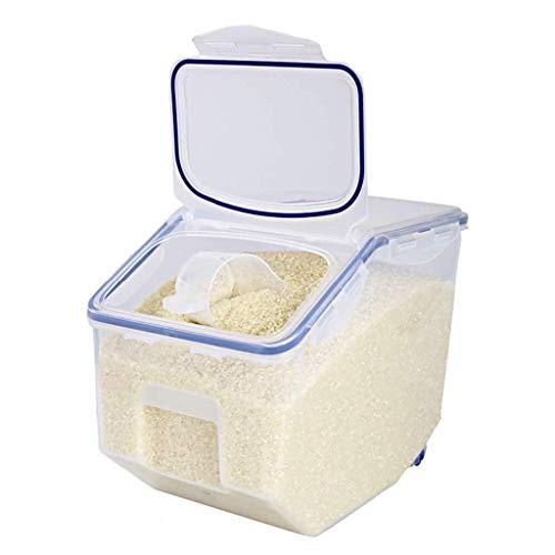 Caja de almuerzo Plástico sellado a prueba de humedad a prueba de insectos Barril de arroz 10 kg Harina Granos diversos Cilindro de arroz Flip Cocina Almacenamiento Caja de arroz Caja de almacenamient