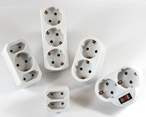 Répartiteur Adaptateur 3 prises + 2 prises (1 prise avec interrupteur) 1 x plus multi Fiche adaptatrice Contact 162 + 550 + 154 + 558 + 568