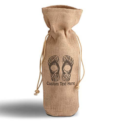 Cotton Custom Wine Gift Bag Slipper Image Patterns Zebra Housewarming & Party Accessories Jute Burlap Drawstring Personalized Text Here