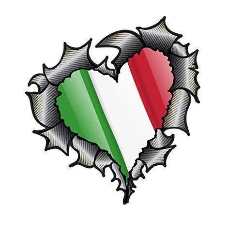 Herzförmiges Kohlefaser Effekt Zerrissenes Metall Schnittwunde Design & Italien Italienisch Il Tricolore Flagge Vinyl Autoaufkleber 105x100mm