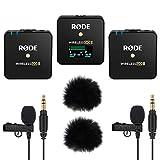 Rode Wireless GO II - Sistema de micrófono inalámbrico de 2 canales (incluye 2 micrófonos Lavalier GO y 2 cortavientos Keepdrum)