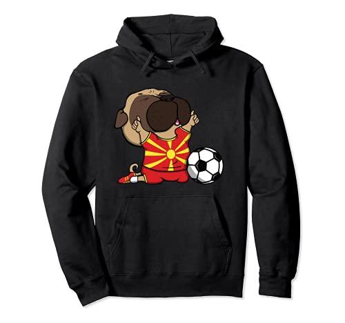 Pug Macedonia Ftbol Fans Jersey Macedonia Amantes del Ftbol Sudadera con Capucha