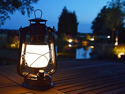 ChiliTec LED Camping Laterne Garten-Laterne Retro Design I Dimmbar Batteriebetrieb 4x AA Mignon 23,5cm Bügel Warmweiß - 5