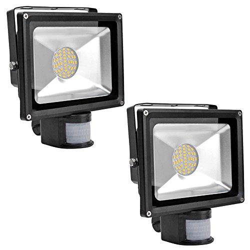 Greenmigo 2x 30W SMD Fluter mit Bewegungsmelder LED Strahler Warmweiß warmweiss Licht IP65 Wasserdicht LED Lampe Wandleuchter Flulicht Flutbeleuchtung LED Gartenlampe Außenstahler