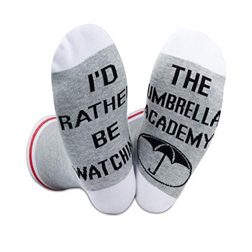 2PAIRS Funny TV Show Series Socks I'd Rather Be Watching The Umbrella Academy Gift For The Umbrella Academy Fans (The Umbrella Academy)