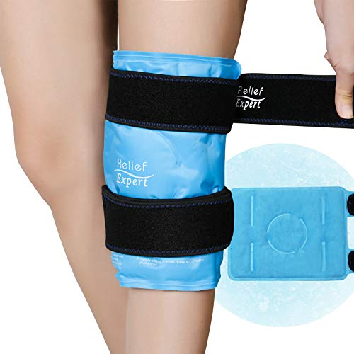 Relief Expert Knee Ice Pack for Injuries Reusable Gel Cold Pack Knee Wrap Around Knee with Cold Compression, Instant Knee Pain Relief for Swelling, Bruises, Surgery Recovery - Soft Plush Lining