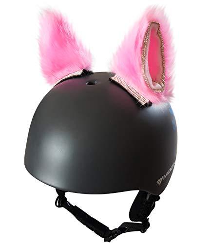 3T-SISTER Helm Kat Oren Crystal Helm Accessoires Decoratie voor Motorfiets, Snowboarden, Skiën, Fietsen, Fietsen, Schaatsen Kostuum Cosplay voor kinderen en volwassenen 2 Stks,Roze