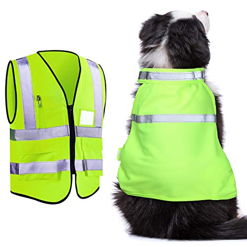 Skiing Reflective Dog Safety Vest Human Pockets Safety Vest for Running, Cycling Walking in Night Roads, Snow, Woods (Medium)