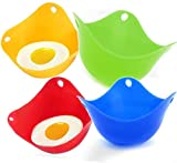 TIANTIAN 4 Pack Silicone Egg Poaching Cups Egg Poacher Pan Poached Baking Cup Kitchen Cookware Tools BPA Free