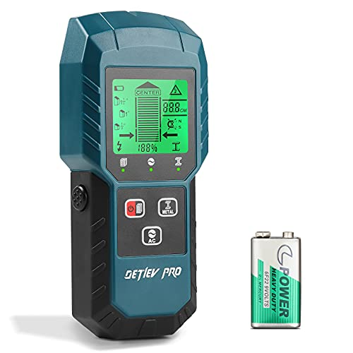 DETLEV PRO 5 in 1 Rilevatore Tubi e Cavi Elettrici,Rilevatore Digitale,LCD Schermo,Avviso Sonoro,Legna/Metallo/Magnetico o Non Magnetico/Cavi CA